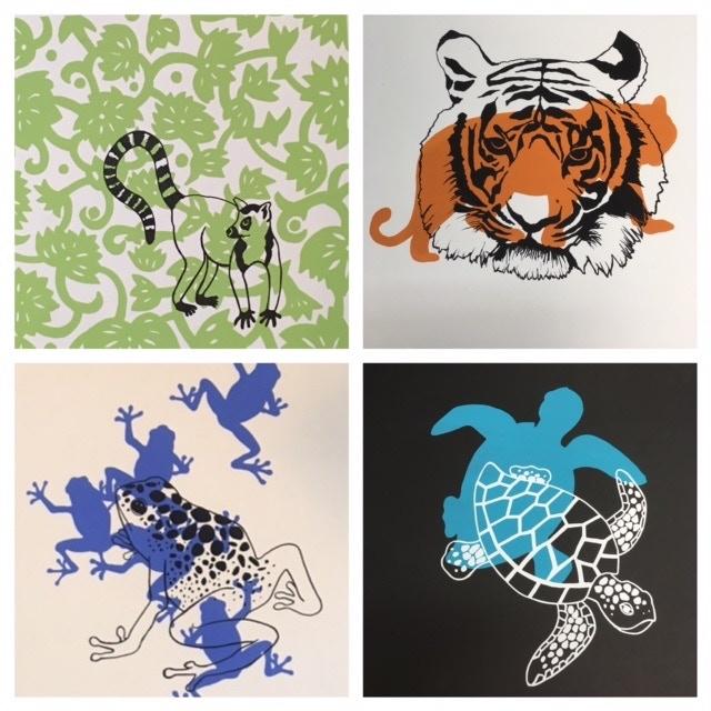 Lemur, Tiger Frog and Blue Loggerback Turtle designs