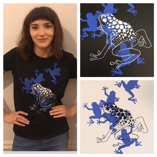 Amanda wearing the frog design