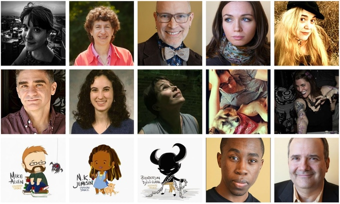 These are the authors participating in the shared story. Hey, check out Mike Allen, N.K. Jemisin, and Phenderson D. Clark's pictures. Where do I get me some of those? Read on, my friend...
