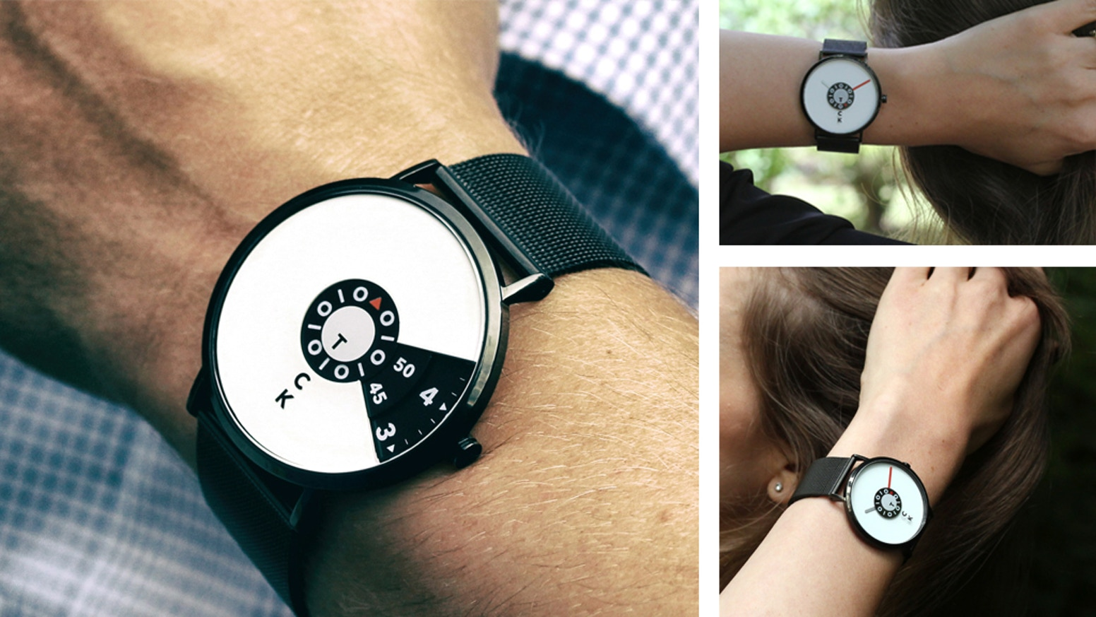 """A unique design. The word """"tick"""" and """"tock"""" appears in succession as the seconds are counted. Minimalist, elegant, trendy. Eye catcher."""