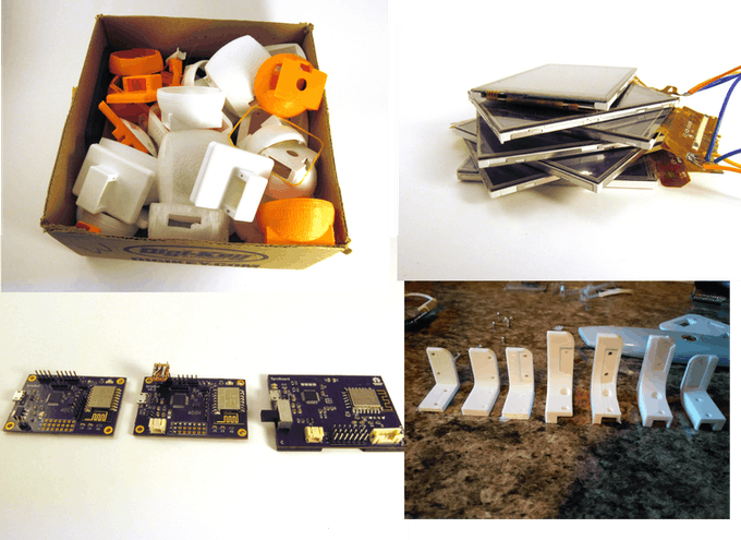 A fraction of the failed prints and electronics used to develop TyroBot