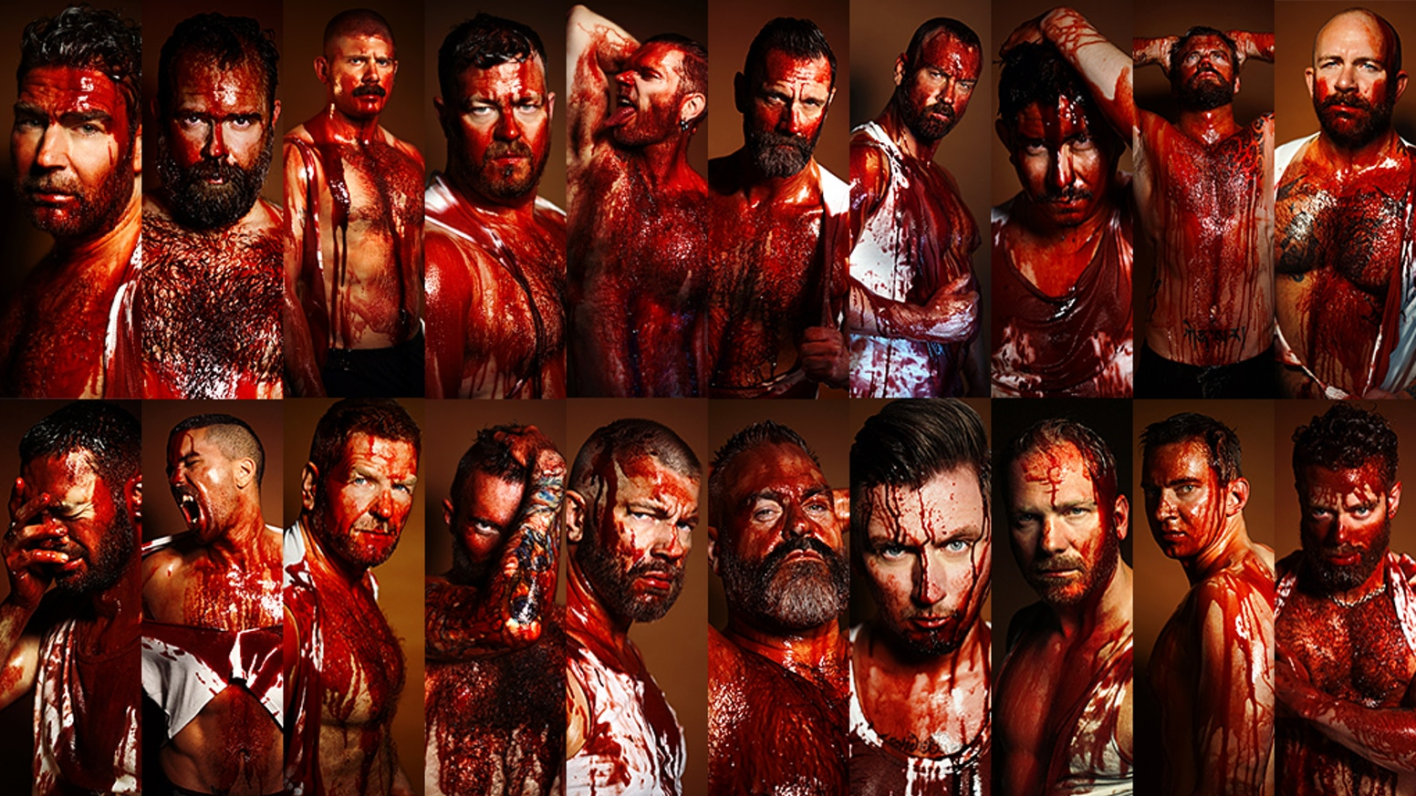 """Myrkky's """"RED"""" is a very bold & unique coffee table book where men are seen as both violent & vulnerable. 178 images of men and blood."""