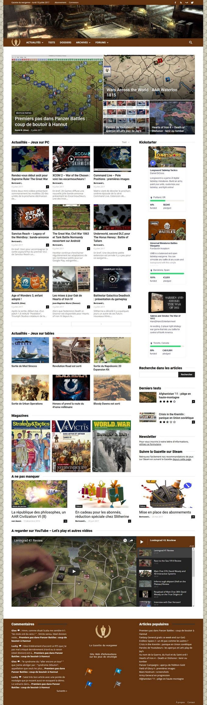 Page d'accueil du site Web de la Gazette du wargamer. Le site bénéficie depuis le printemps de cette année d'une nouvelle maquette, plus élégante et performante.