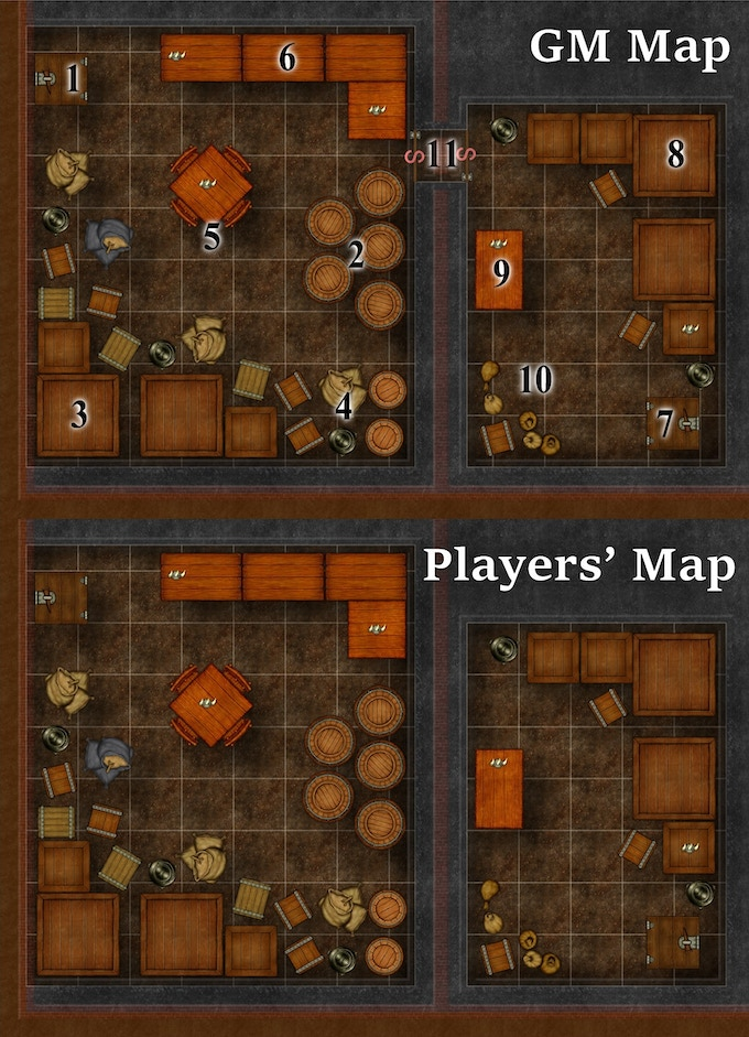 GM (top) vs. Players' (bottom) map example