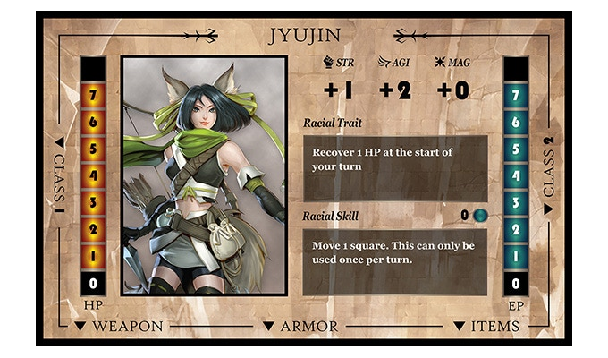 The Jyujin is agile, able to succeed an agility roll with a +2 bonus