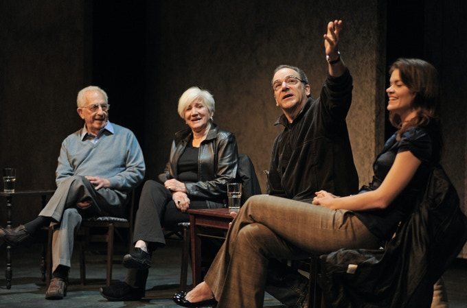 Gerald Freedman, Olympia Dukakis, Mandy Patinkin, and Missi Pyle in a talkback with students, onstage at the Gerald Freedman Theater. Photo by Brent LaFever.