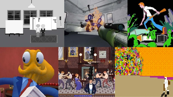 Pippin Barr's Art Game, Hunter Jonakin's Jeff Koons Must Die, Organ Trail and Max Gentleman by The Men Who Wear Many Hats, Octodad by Young Horses, and Rob Lach's Pop: Methodology Experiment One