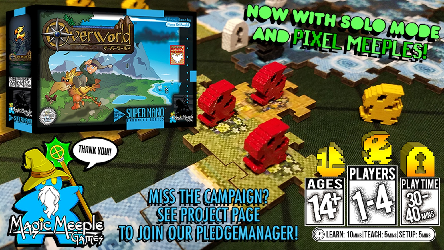 A light & super portable 16-bit Boardgame for 1-4 players in 30-40 mins! Euro-inspired Tile-placement, Territory-control,& Exploration!