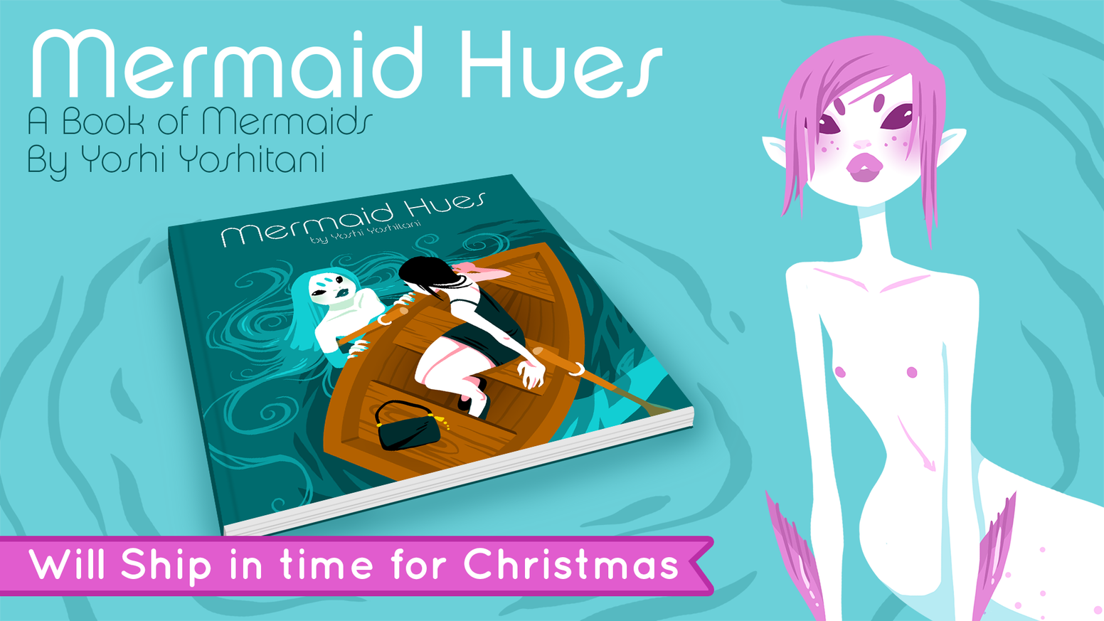A hard cover book of Mermaids, each page a different mermaid and a different hue