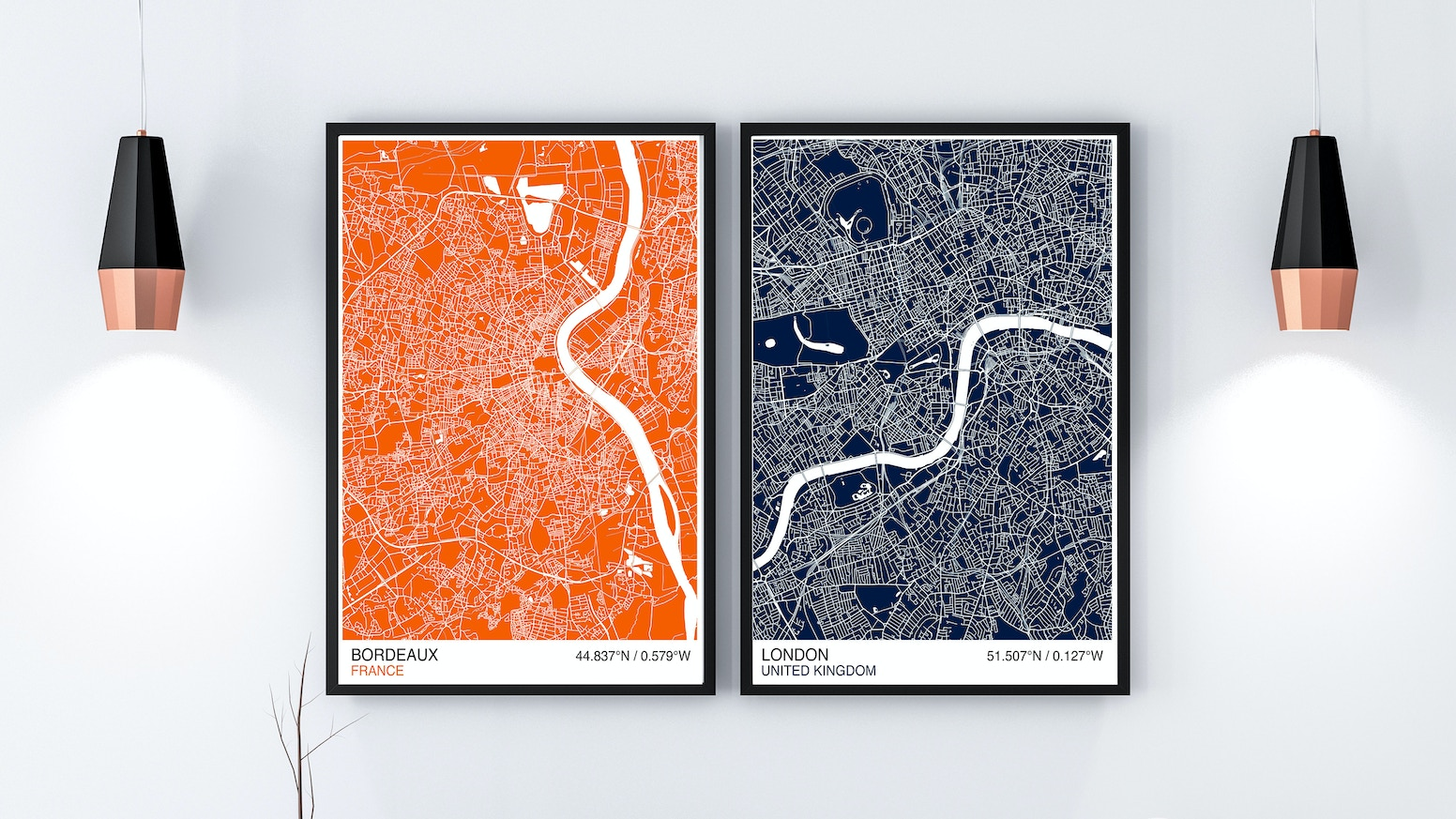 Map your adventures with these modern map prints available in a choice of colours, sizes and for any location in the world!