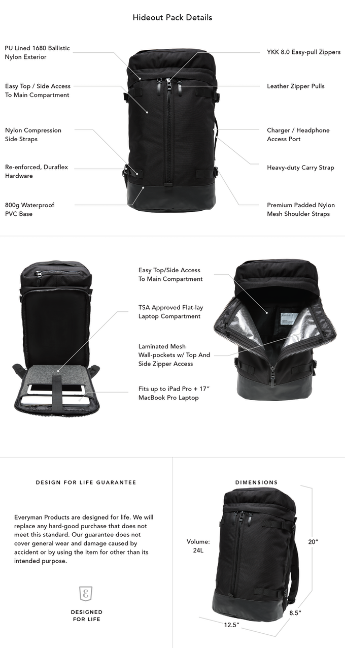 37437cce15 The Hideout Pack eliminates the need for multiple bags for work