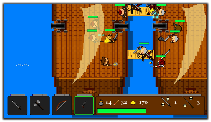Boarding an enemy pirate ship. Note: the UI will be updated to look prettier.