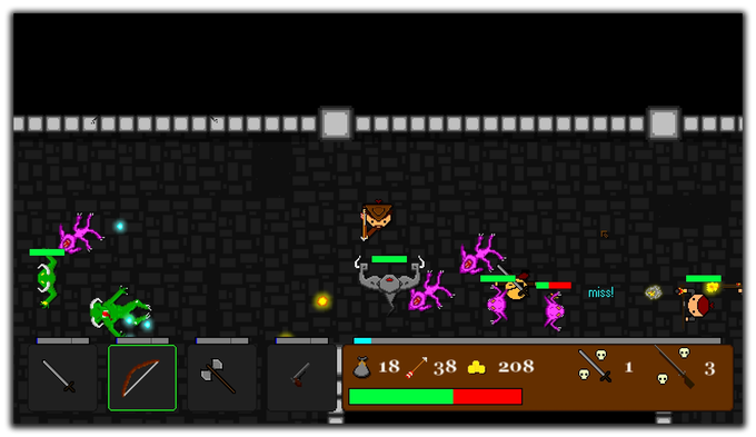 Battling against a horde of dungeon creatures.