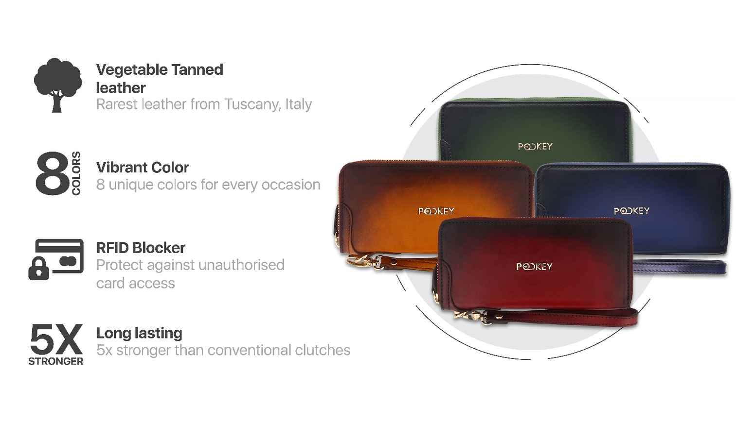 World's 1st Smart Clutch, handcrafted from Premium Vegetable Tanned Leather, 5x more durable with RFID blocker to protect your cards