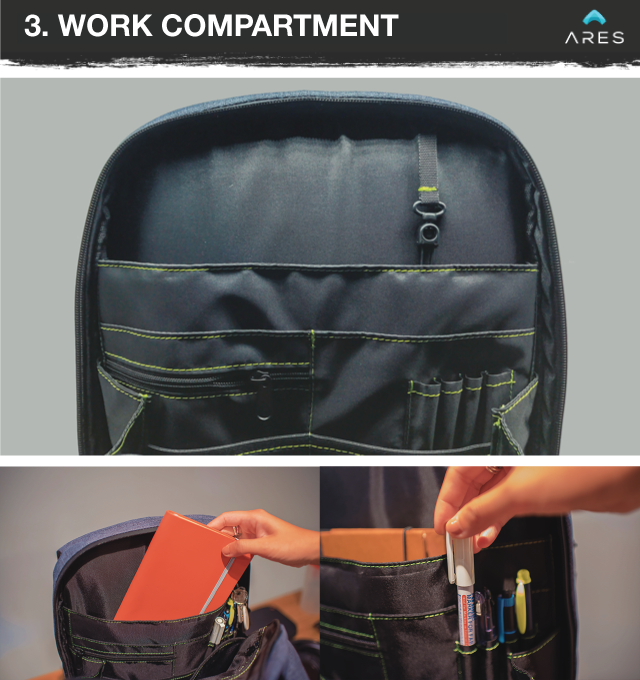 b946c5b3d3 The ARES backpack has compartments for all your office essentials from  power banks
