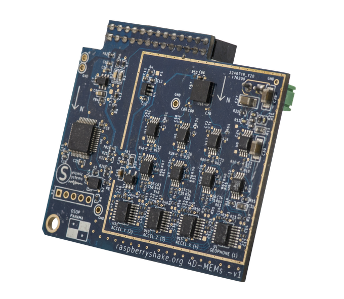 Raspberry Shake 4D electronic board with built-in MEMs accelerometers