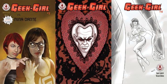 (left to right:) Geek-Girl #2 Ltd Variant Edn, Geek-Girl #3 Ltd Variant Edn (both limited to 500 numbered copies); Geek-Girl #4 Super-Ltd Variant Edn (limited to 100 copies!)