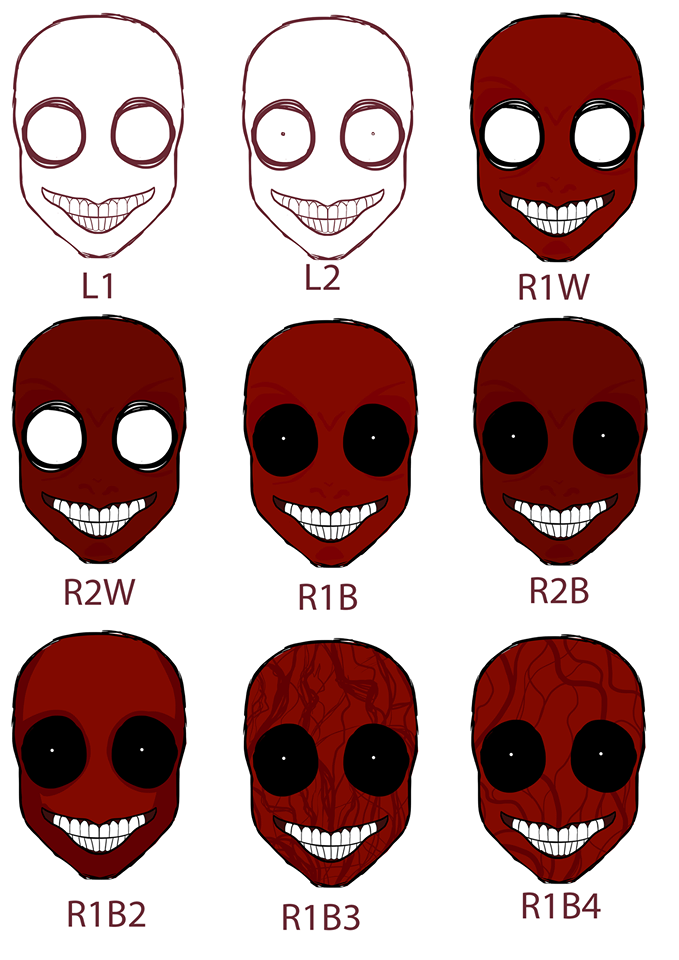 Concept art for 'The Crimson Man' mask, a key item in the show, art by Pabbie Slator