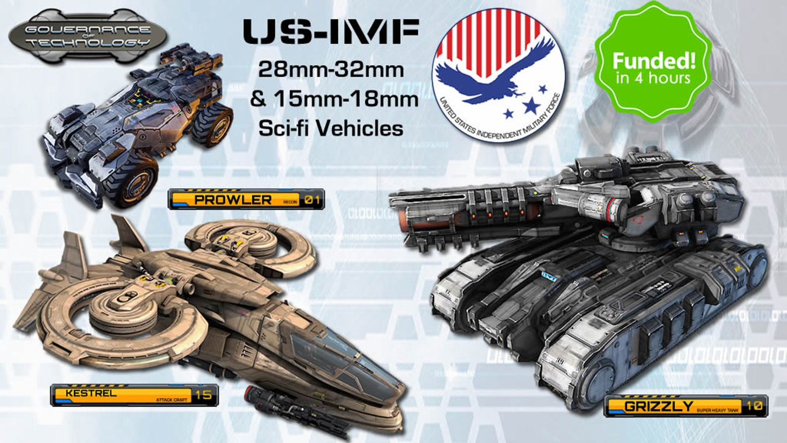 US-IMF vehicles and mechs from our 28mm & 15mm Governance of Technology series of tabletop vehicles.
