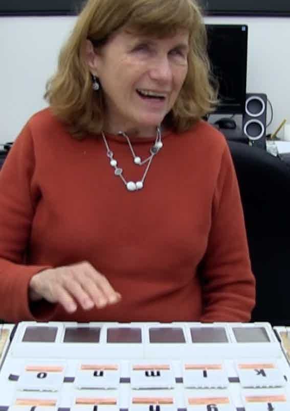 Kate Crohan laughing while using the Read Read