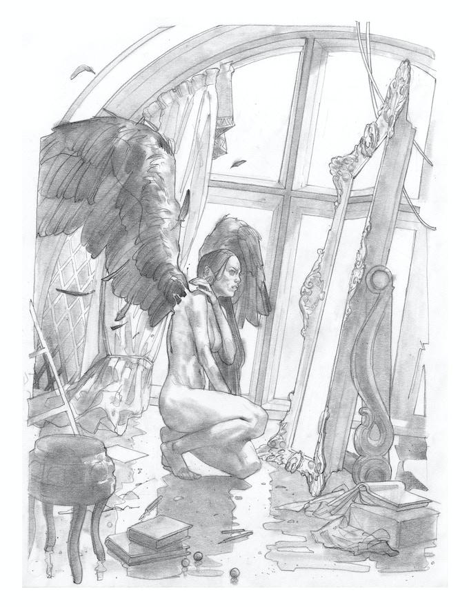"""""""Wings"""", original pencil sketch, 8.5x11"""