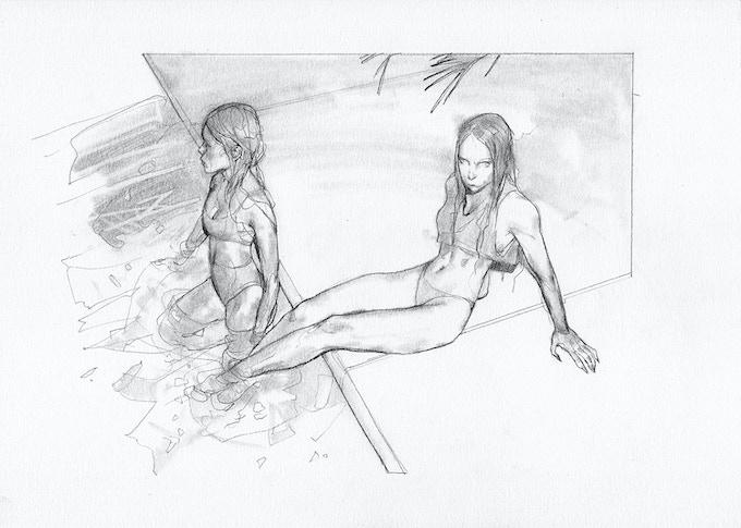 """Afterglow"", original pencil sketch, 8.5x11"