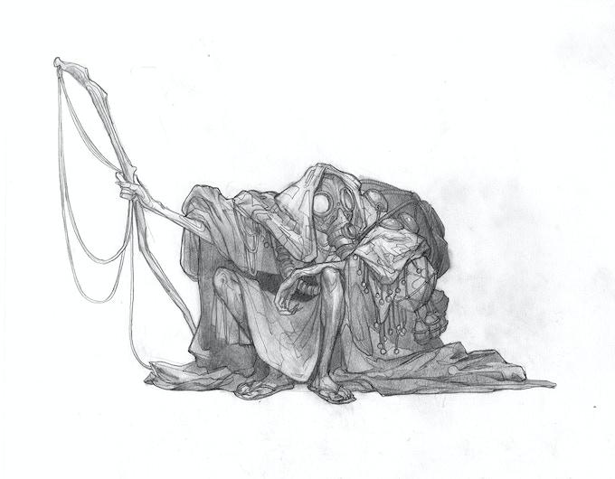 """Wanderer"", original graphite sketch, 8x11"