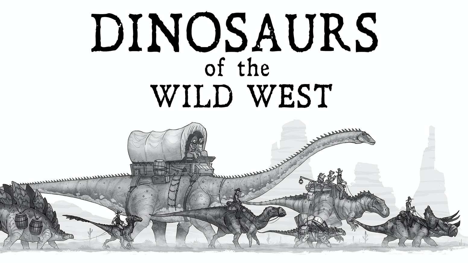 A collection of illustrations depicting the everyday lives of dinosaurs and people living together in the old west.