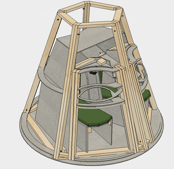 Exterior View of Capsule CAD. (skin not shown to show inner structure)