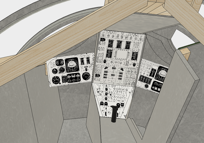 CAD Interior View of Capsule from Rear (panel graphics are from original Gemini to show approx. panel layouts)