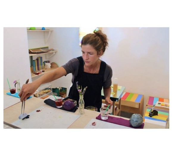 "Leah Rosenberg serving ""7 Course Edible Artworks"" 2014- LPP+ Residency"