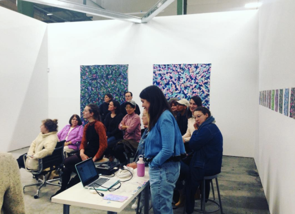 Madeline Gallucci giving a talk, 2016- LPP+ Residency