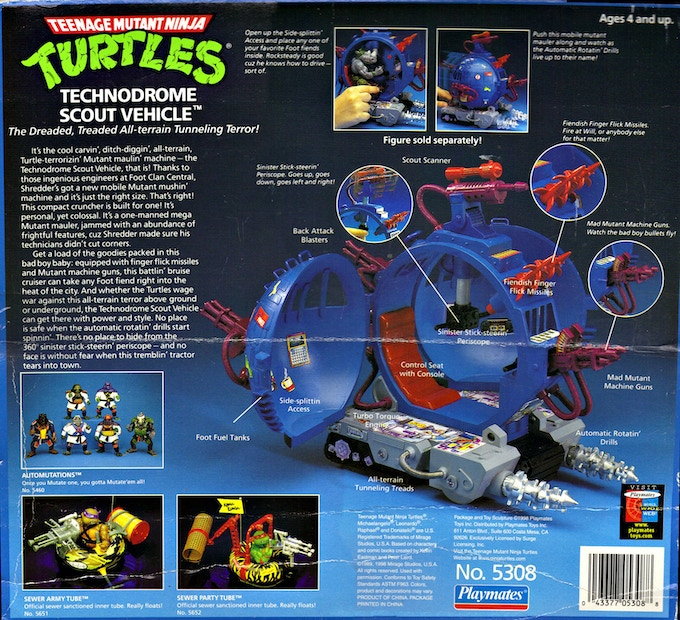 Full front and back  packaging on nearly every TMNT vehicle to date