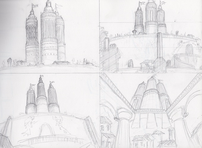 Concept sketch for City of Godland