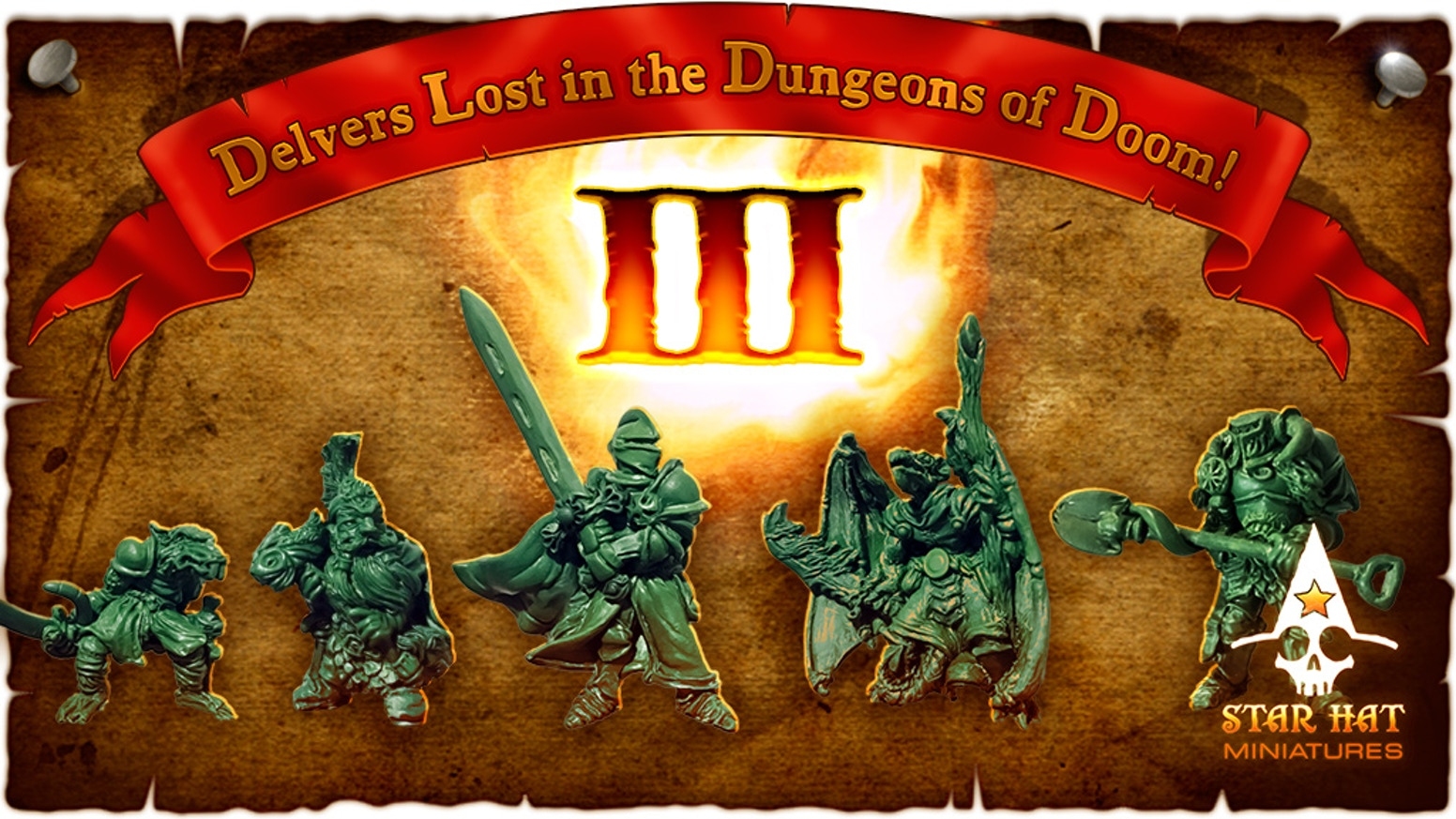 Delvers Lost in the Dungeons of Doom 3: Heroic scale fantasy miniatures sculpted by hand and cast in metal for RPGs and Tabletop Games.