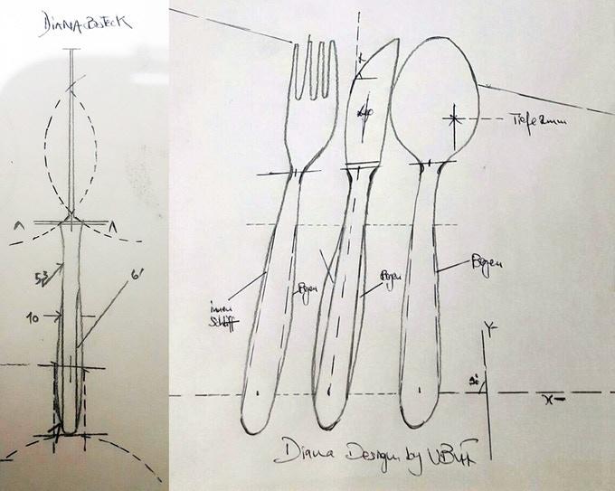 Design sketches of Diana
