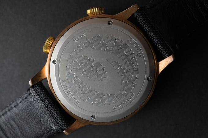 Bead blasted stainless steel caseback with engraved logos