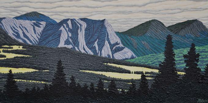 60°N x 134°W - NE; Mount Caribou, Yukon Territory, Canada; October 2006; Acrylic on Canvas, 12x24'