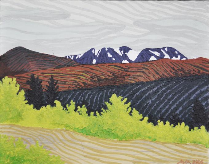 "60°N x 134°W - NW; The Carcross Desert, Yukon Territory, Canada; October 2006; Acrylic on Canvas, 11x14"""