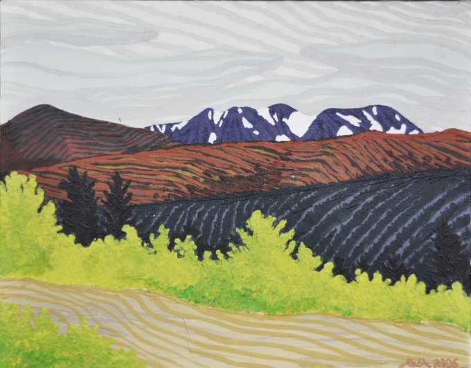 60°N x 134°W - NW; The Carcross Desert, Yukon Territory, Canada; October 2006; Acrylic on Canvas, 11x14""