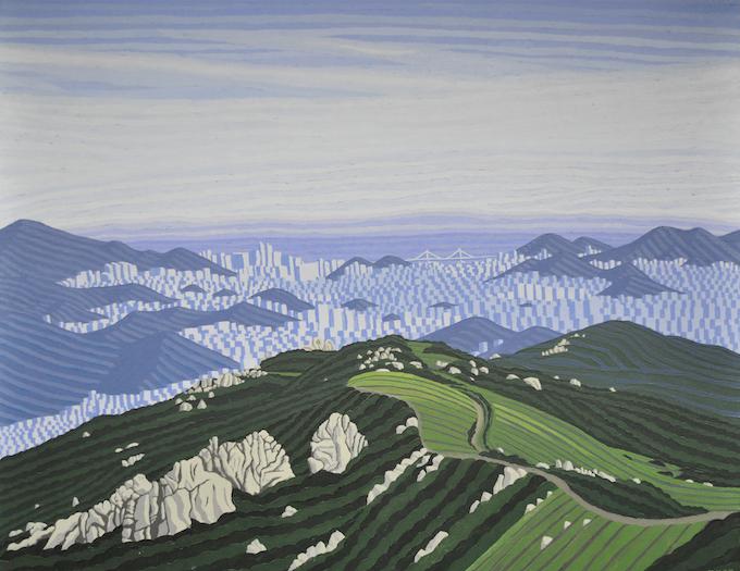 "35°N x 129°E - SE; Mount Geumjong, Busan, South Korea; January 2009; Acrylic on Canvas, 24x30"""