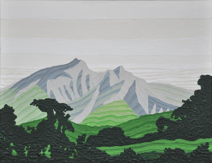 "31°N x 130°E - E; Mount Sakurajima, Kagoshima, Japan; May 2010; Acrylic on Canvas, 11x14"""