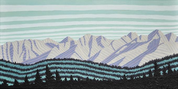 """38°N x 105°W - NW; Sangre de Cristo Mountains from Browns Canyon, Salida, Colorado; November 2016; Acrylic on Canvas; 12x24"""""""