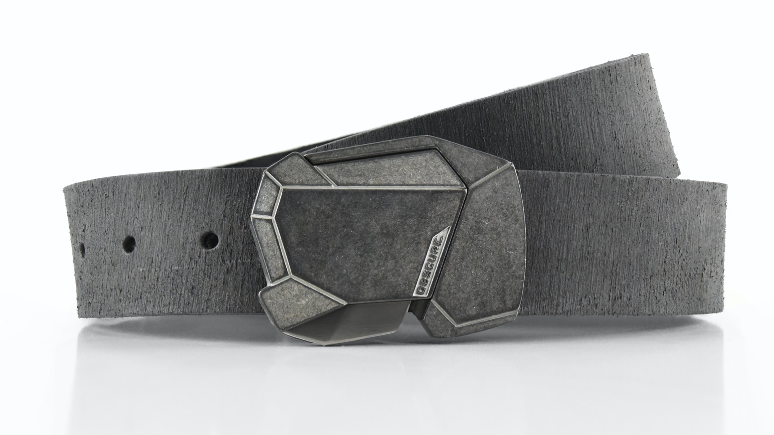 A futuristic buckle with a simple quick-release button. Hand-cut leather from Milwaukee, WI. The most awesome belt you'll ever own.
