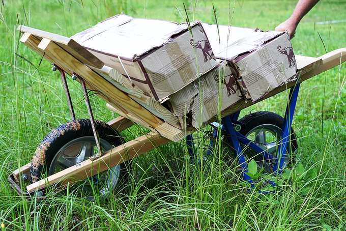 BeastBarrow attachment on a brick and tile wheelbarrow