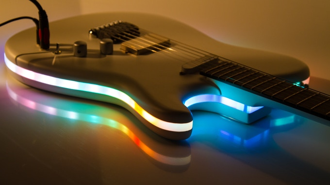 Kev Burton (@musecasters), British guitar luthier extraordinaire  builds guitars with Audiolux One to create amazing illuminating guitars. Photo Credit: Rob Hargreaves (@rob_da_xingxing)
