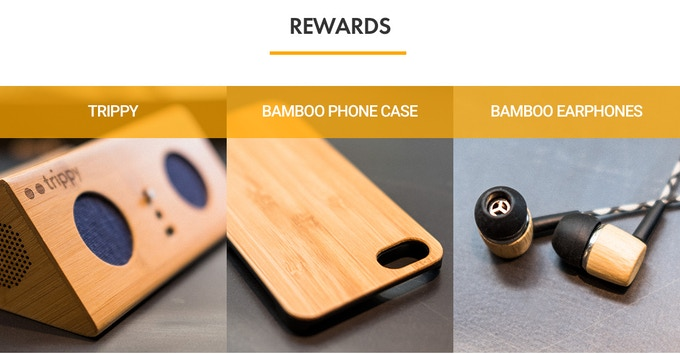 The Trippy speaker, a bamboo case for your Iphone 6 or 7 and Trippy's kickstarter-only earphones in bamboo