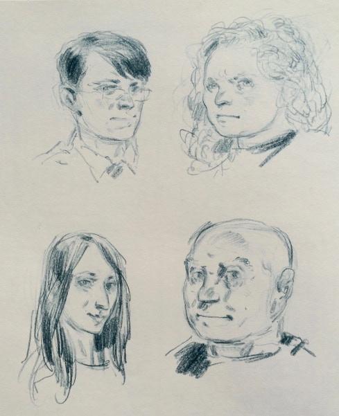 Developmental sketch of Nelson, Jen, Deirdre and Fetzer