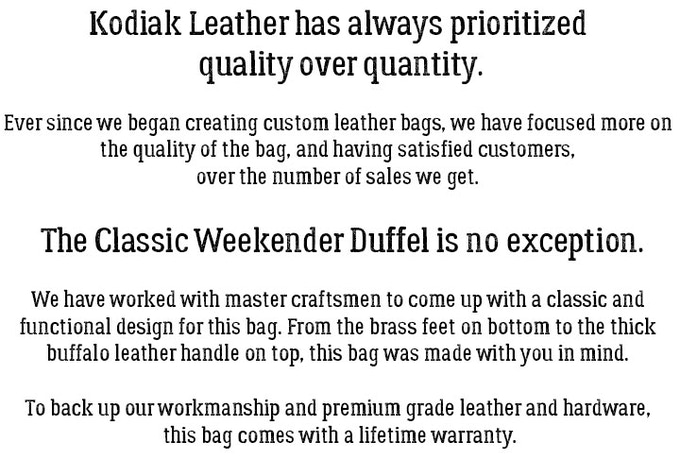 Kodiak Leather Classic Weekender Duffel 60l By Jared Morse