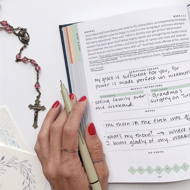 Re-write a verse, record your prayer intentions, take notes